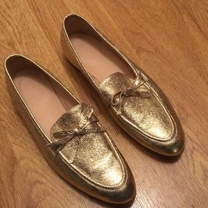 Jcrew gold leather loafer size 8.5